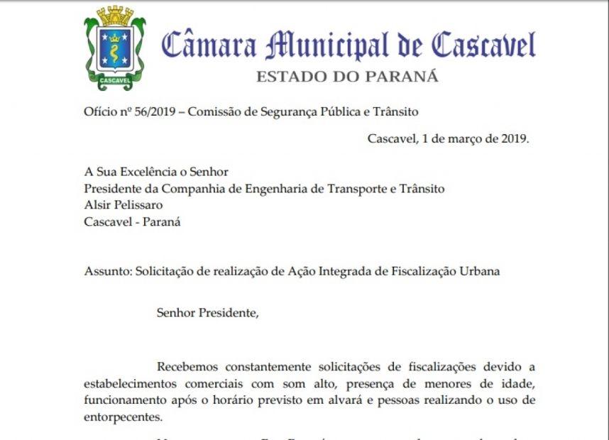 Comissão de Segurança recebe abaixo-assinado e pede ação integrada de fiscalização na rua Paraná