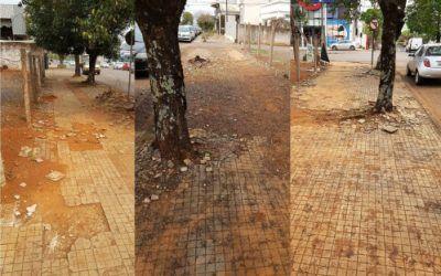 Proprietários de terrenos são notificados por péssimo estado de calçadas.